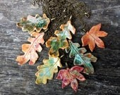 Autumn leaf necklace, glazed ceramic, fall colours, antique bronze tone