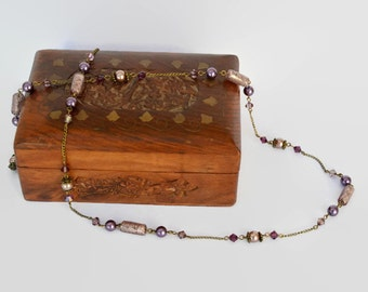Ameythst purple pink bronze long Swarovski crystal necklace