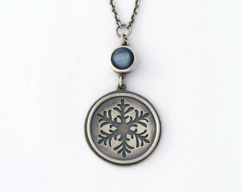 Snowflake and kyanite Necklace - sterling silver one of a kind handmade snowflake necklaces kyanite cabochon