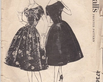 ON SALE 1950's Sewing Pattern - McCall's 4736 Dress with bell shaped skirt  Size 14 complete