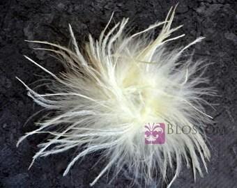 IVORY - The Stephanie Collection - Ostrich Puffs - DIY Flower Headband Supplies - Feather Marabou Curly Ostrich Flower Blossom Supplies