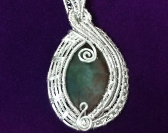 Faceted Green Red Agate Wire Woven-Wrapped Pendant