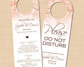 Rose Gold Sparkles Do Not Disturb Door Hangers, Welcome, Wedding Itinerary: Text-Editable in Word, Printable Avery® 16150, Instant Download