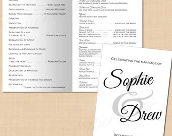 Calligraphy Wedding Program Booklet, Change All Colors! (Folds to 5.5 x 8.5): Text-Editable in Microsoft® Word - Printable Instant Download