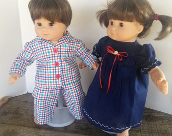 "American Girl 15"" Doll Clothing - Bitty Twins Red Blue Plaid Pj's For Boy Blue Gown for Girl"