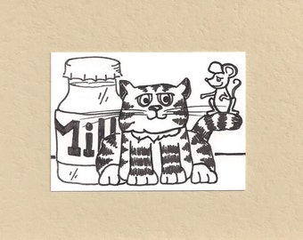 ACEO,  ATC, Cat, Art Trading Card, Hand Drawn, Kid Friendly, Black and White, Animal