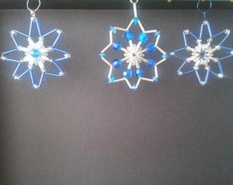 Set of 3 unique handcrafted stars - ornament suncatcher window decor car charm