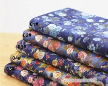 tie-dye Denim Cotton Fabric for craft, Pre Washed Stretch Fabric, Retro Floral Texture,4 Colors for choice,diy 1/2 yard (QT722)