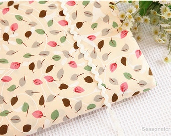 Cotton Fabric, Twill Cotton Fabric, Shabby Chic,color leaves on beige Cotton,Decor Fabric 1/2 Yard (QT893)