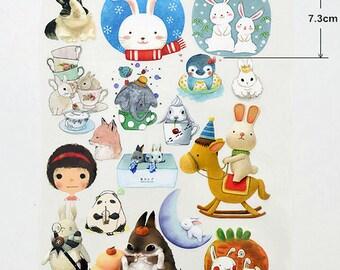 7.3cm Plastic Flocking Tape Sticker, DIY Cloth Art Manual Cloth Decoden Figure Hot Plated Backing Painting - Rabbit 1Pc  (ST334)