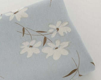 Cotton Linen fabric, Shabby Chic White Flower Fabric, Zaka DIY Fabric, 1/2 yards (QT622)