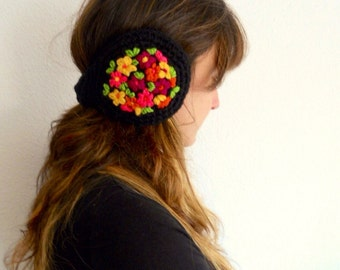 Embroidered earmuffs, keep ears warm, winter fashion READY TO SHIP, christmas gifts, gifts for her
