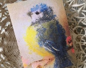 Folded Art Card/Bird Art/Bird Note Card/Bird Greeting Card/Blue Bird Art/Vintage Bird/Vintage Bird Painting/FREE SHIPPING
