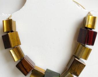 SALE vintage fashion Handmade necklace collar with wood elements, so shiny  - so elegant!