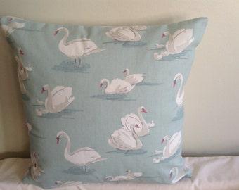 "Modern handmade 16"" duck egg blue, beige, cream swan cushion cover, pillow, pillow case, scatter cushion."