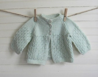Girls Vintage Sweater, Knit Sweater, Pale Green Knit Sweater, 12 months Size Sweater, Handmade Vintage, Knit Cardigan Sweater, Vintage 1960s