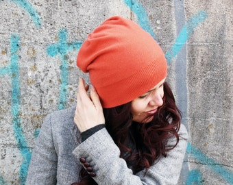 cashmere hat in orange, beanie, knit hat, cashmere gift