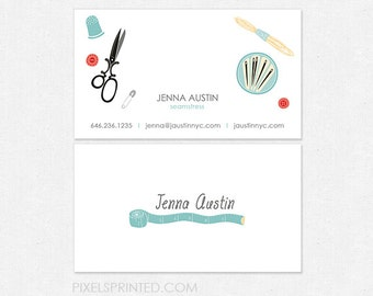 sewing/tailor business cards - thick - glossy or matte - color both sides - FREE UPS ground