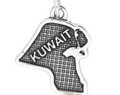 Sterling Silver Textured Country Map of Kuwait Charm
