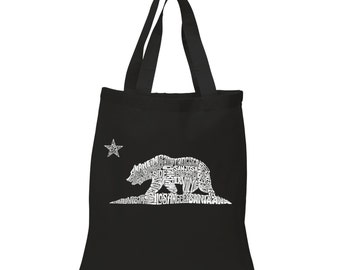 Small Tote Bag - California Bear Created using the names of some of the largest cities in California
