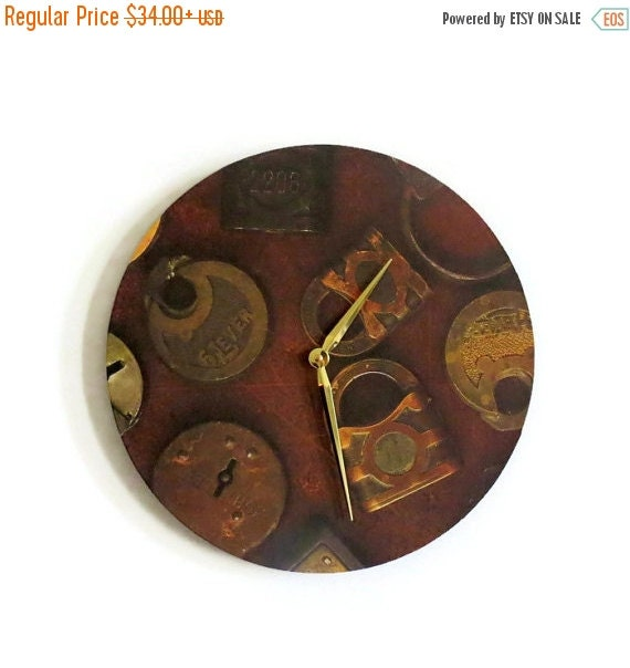 Sale Rustic Wall Clock Vintage Locks Unique Wall By