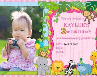 Girl Zoo Birthday Invitation