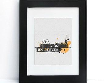 Halloween Scene - Grungy - Digital Printable Art - Home Decor - 8x10 - Instant Download