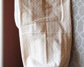 cream tan chevron print fabric grocery/plastic bag holder