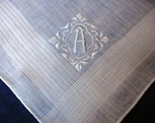 Madeira Monogram Handkerchief A Initial Men's Hankie Hand Embroidered on Pure White Linen for the Groom a Vintage Wedding Heirloom Gift