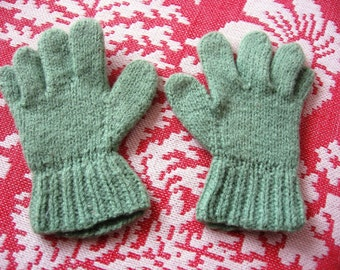 Child's Antique Gloves Hand Knit Tiny Size 4 and 1/2 inches in Length Handmade in Green Wool Doll or Children's Antique Clothing Accessory