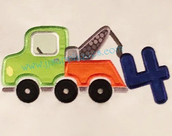Tow Truck with number 4 Digitized Embroidery Applique Designs - 4x4, 5x7, and 6x10 hoops - Instant Download