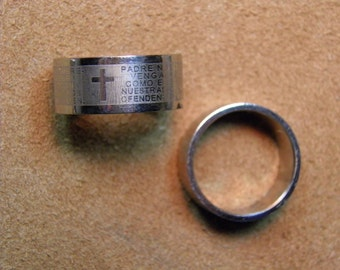 Stainless Steel Ring The Lords Prayer, 10mm Band