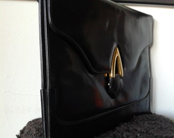 Vintage black leather clutch, 80s handbag, embrague.