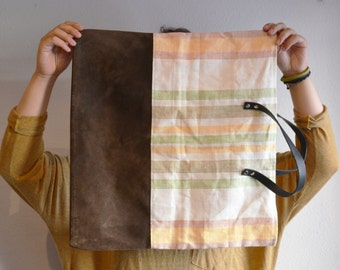 vintage fabric and recycled leather tote