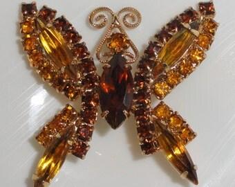 Vintage JULIANA Style Amber Topaz Citrine Navette Rhinestone Figural Fall BUTTERFLY Brooch