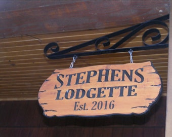 Cabin Name Sign Family Name Address Sign  22 x 9 Northern Red Cedar Carved Wood Sign