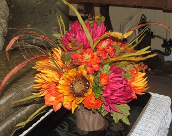Fall Flowers in Gingham Bucket