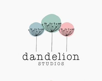 Premade Logo - Hand Drawn Dandelion Logo - Watermark - Photography Logo - Children's Photography - Boutique Logo - Whimsical Logo Design