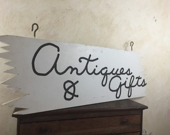 Vintage STORE FRONT Antiques and Gifts Wood Carved Sign Store Window Sign Hanging Antiques and Gifts For Sale