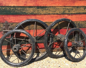 Antique Baby or Doll Buggy Wheels Set of four Rubber and Metal Encased Wooden Carriage Wheels Metal Spokes