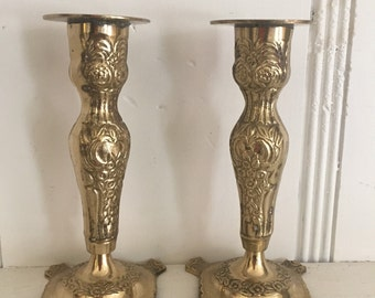 Vintage Brass Candlesticks Heavy Solid Brass Candle Sticks