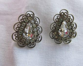 Earrings - Rhinestone Earrings - Filigree Setting - Pierced Ears - Vintage