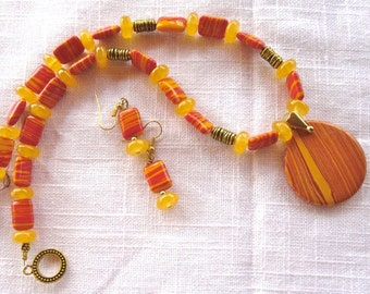 18 Inch Orange and Yellow Calsilica Pendant Necklace with Earrings