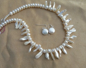 SALE!  Gorgeous 17 Inch Baroque Keshi Akoya Pearl Stick Bead Necklace and Earrings