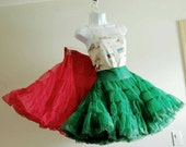 PAIR Vintage Petticoats Red & Green