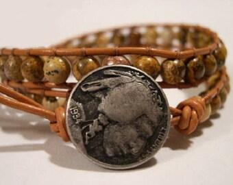 Beaded wrap bracelet, Wrap bracelet, Beaded LeatherWrap, Boho bracelet, Beaded wrap - 793