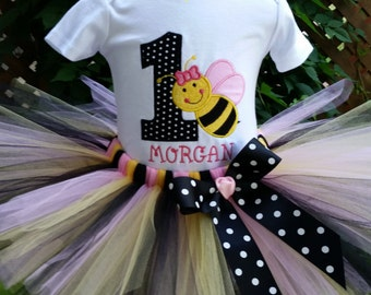 1st Birthday Girl Outfit -  Bumble Bee Tutu Costume - My 1st BeeDay Outfit - Baby Girl 1st Birthday - Pink, Black and Yellow Tutu