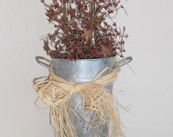 Vintage Tin Galvanized Bucket w/Holly Berries and Rusty Stars