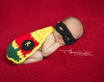 Newborn Little Bat Baby Side kick Cover Cape and Mask Crochet Photo Prop Super Hero Set