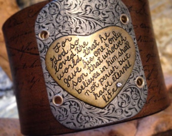 John 3:16 Leather Bracelet with Metal heart and scripture